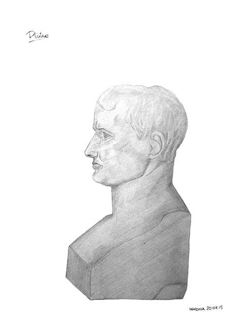 Napoléon, plâtre dessiné par Margaux, en cerveau droit, le matin du 5e jour, vendredi 20 février 2015.