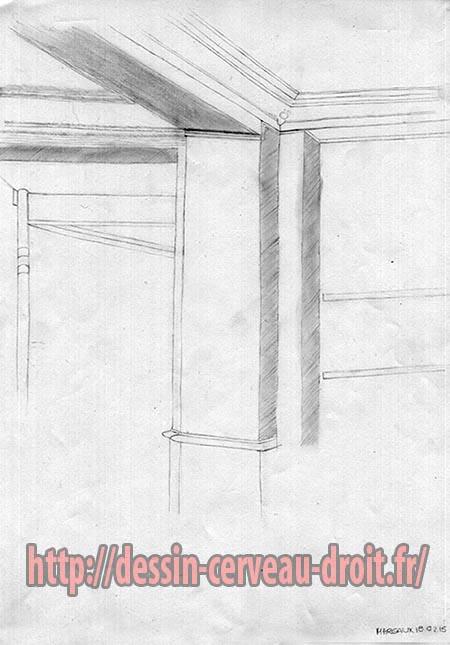 Décor, angle et plafond d'une pièce, dessiné par Margaux, le troisième jour, le 18 février 2015.