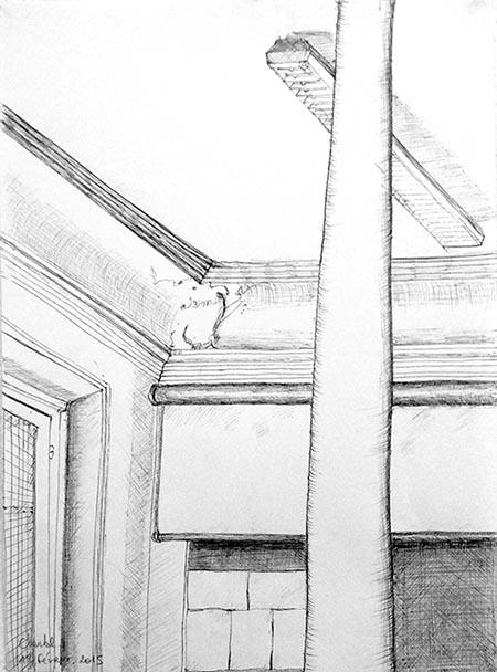 Dessin en cerveau droit de la salle de l'Atelier Albers, par Chantal, le Mercredi 18 février 2015.