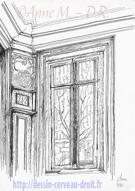 Dessin à l'encre d'un coin d'atelier avec fenêtre, par Anne M., le mardi 23 février 2010.