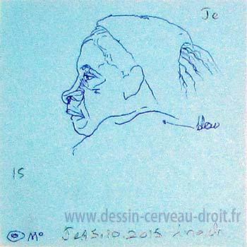 Croquis, sur Post-it, d'une tête de jeune femme, réalisé par Richard Martens, dans le métro le 15 octobre 215.