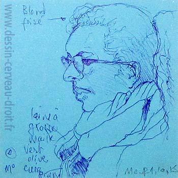 Portrait au stylo-bille, sur Post-it, d'une jeune femme, réalisé dans le métro Parisien, par Richard Martens, le 21 octobre 215.