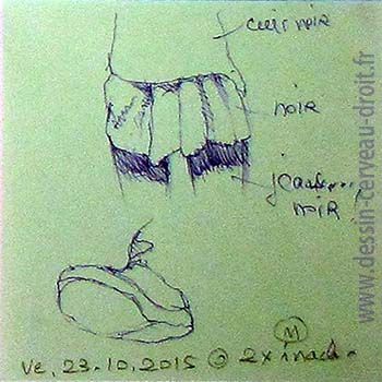 Croquis au stylo-bille, sur Post-it, de plis d'une jupe, et d'un pied en contre-plongée, réalisés dans le métro Parisien, par Richard Martens, le 23 octobre 215.