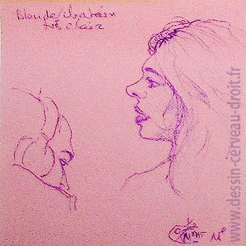 Double portrait au stylo-bille, sur Post-it, d'une jeune femme & d'un jeune homme, réalisé dans le métro Parisien, par Richard Martens, le 25 octobre 215.