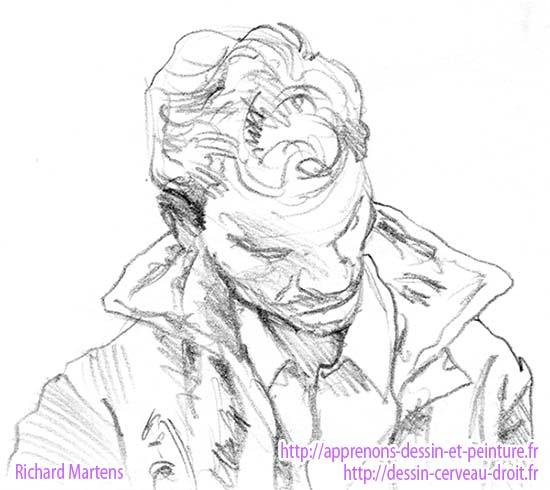 Portrait au crayon en cerveau droit, vu en plongée d'un jeune homme par Richard Martens, en 1991.