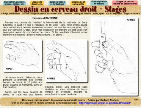 """Photo d'écran d'une page du site """"http://dessin-cerveau-droit.richard-martens.eu/antoinedessinsde.html"""" consacré au dessin en cerveau droit"""