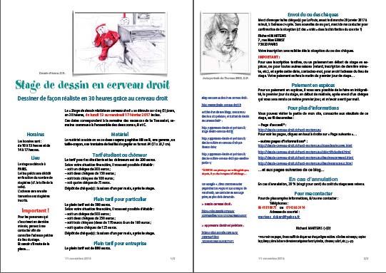 Fichier PDF d'informations du Stage de dessin en cerveau droit de février 2017.