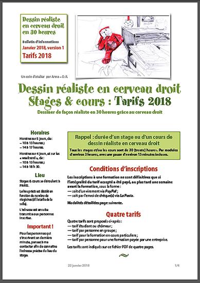 """Tarifs pour les stages de """"Dessin réaliste en Cerveau droit"""" pour 2018."""