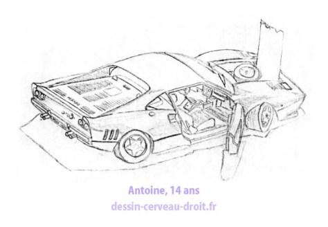Le dessin, fort complexe, d'une maquette de voiture, par Antoine, après avoir appliqué la méthode de dessin réaliste en cerveau droit !