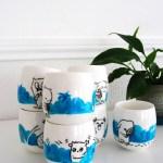 tasses peintes à la main