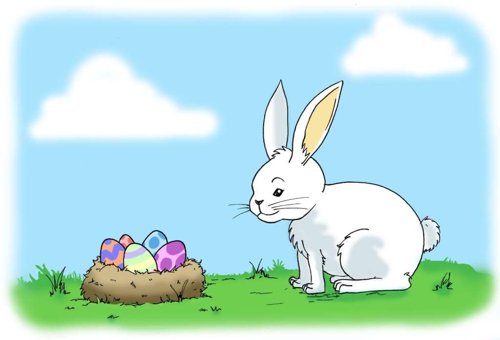 Exemple de coloriage du lapin de pâques