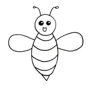 Repasser les contours de l'abeille au feutre noir