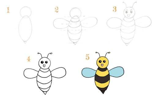 comment dessiner une abeille pour les enfants de 6 ou 7 ans?