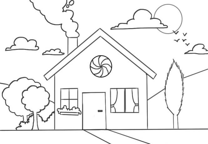 Encrage du dessin de maison