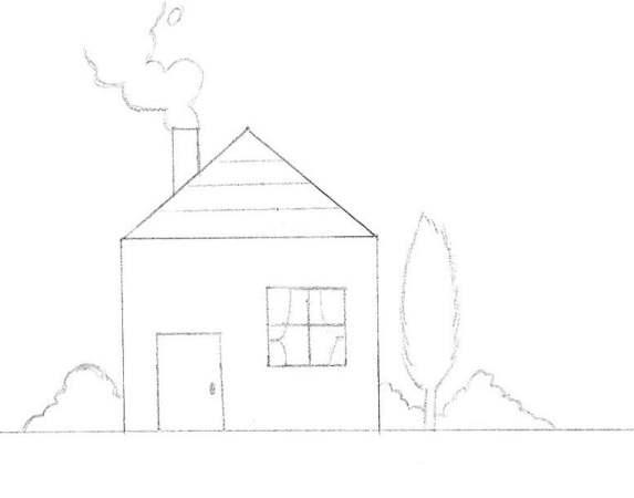Etape 3: dessiner les détails et le décor autour de la maison