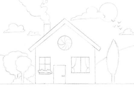 Dessiner le paysage autour du dessin de la maison