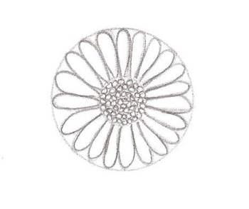 Compléter la fleur avec les étamines au centre (le jaune de la paquerette)