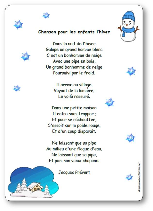 La Neige Au Village Poésie : neige, village, poésie, Chanson, Enfants, L'hiver, Poésie, Illustrée, Jacques, Prévert