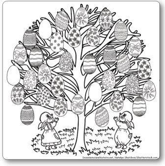 Coloriage géant à imprimer : l'arbre de Pâques