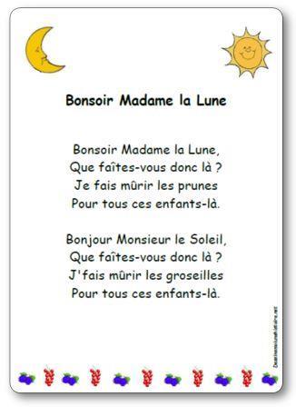 Sur La Lune Parole : parole, Comptine, Bonsoir, Madame, Paroles, Illustrées, Imprimer,