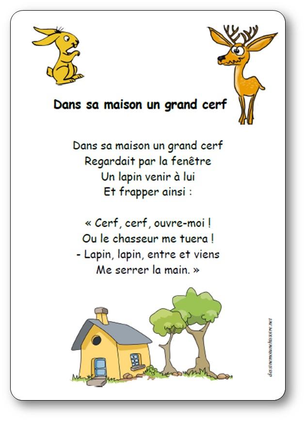 Dans Sa Maison Un Grand Cerf : maison, grand, Comptine, Maison, Grand, Paroles, Illustrées