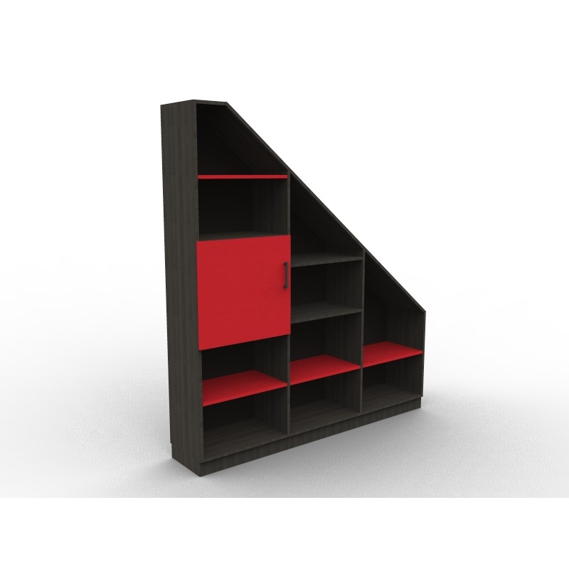 meuble bibliotheque sous pente rouge et noir