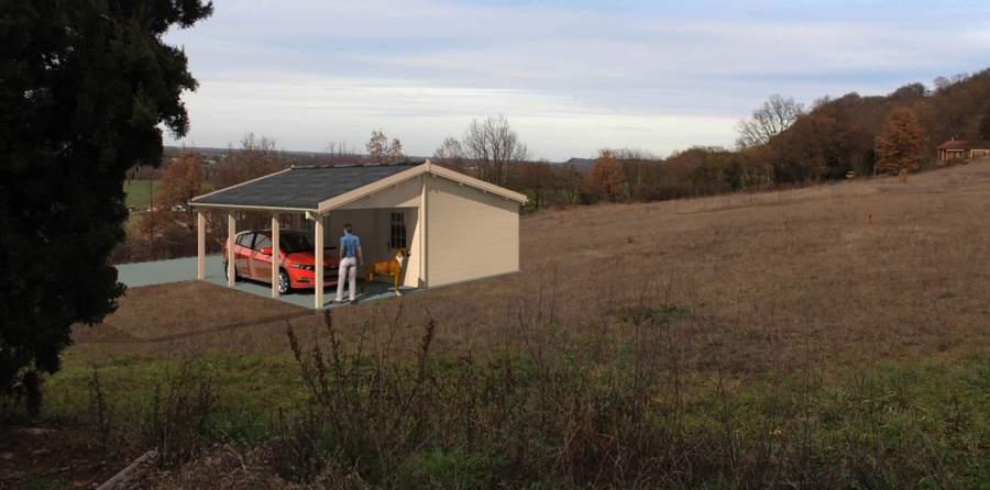 Construction d'un Garage en Bois Préfabriqué de 40,6m² - Gensac / Garonne(31)