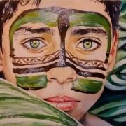 Dessin portrait d'un jeune garcon au visage peint