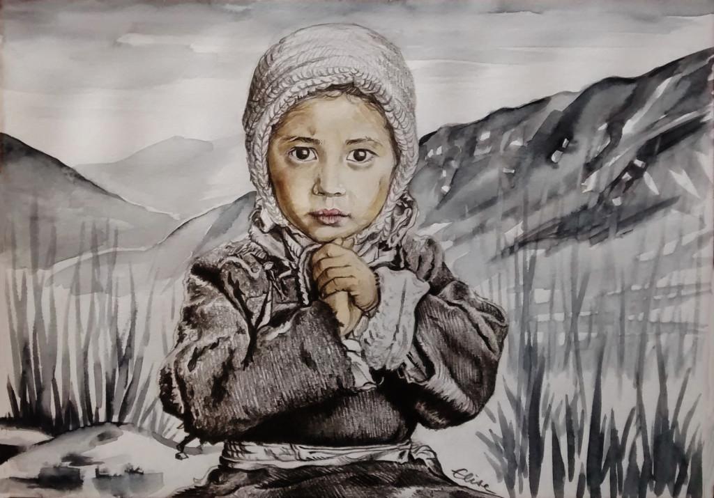 dessin portrait d'une petite fille tibetaine