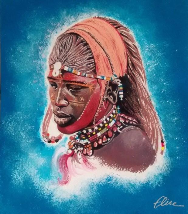 Portrait dessin d'une femme masai