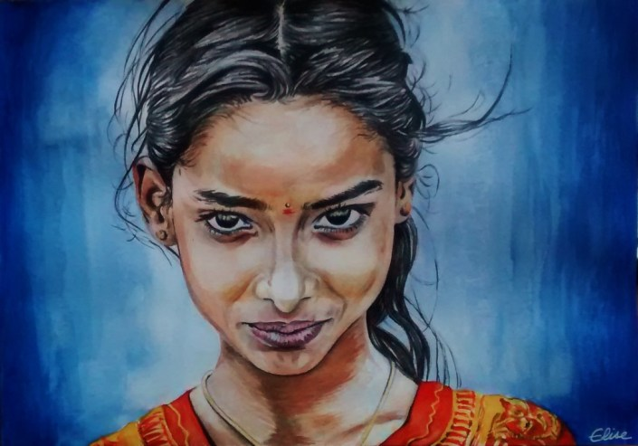 Dessin portrait d'une petite fille indienne aux yeux noirs