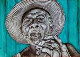 Portrait dessiné d'un cubain au cigare d'après une photo de Réhahn Croquevielle