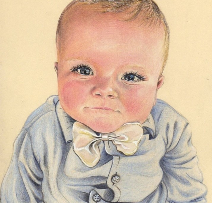 Portrait dessin d'après photo de bébé petit garçon