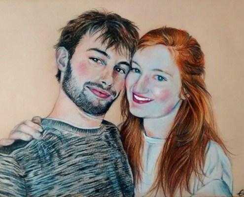 Portrait dessin d'après photo de couple