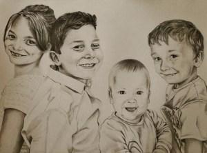 Portrait dessin d'après photo d'enfants