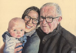 Portrait dessin de famille d'après photo, grands-parents et bébé