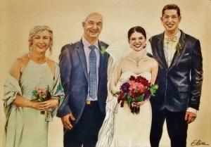Portrait dessin d'après photo famille à un mariage