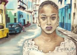 Portrait dessin d'une jeune fille cubaine aux yeux verts