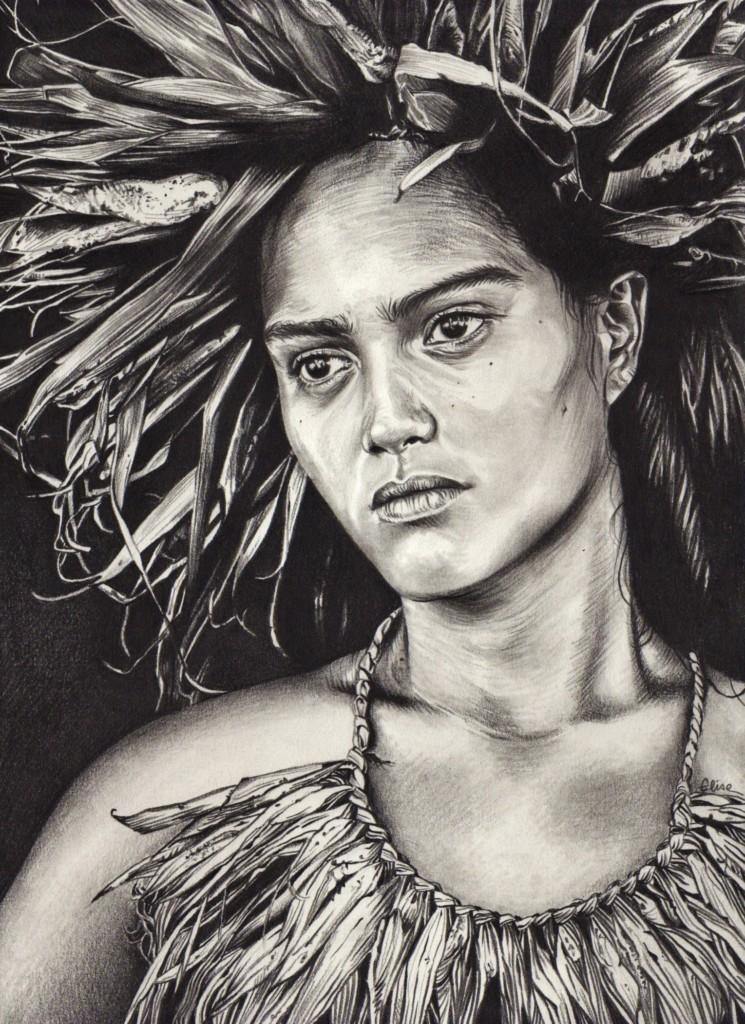Portrait dessin d'une jeune fille tahitienne mélancolique