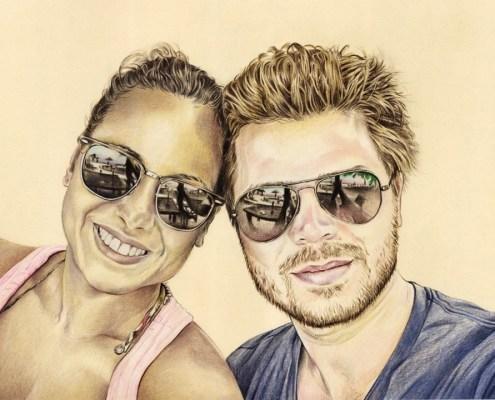 portrait-dessin-d-après-photo-couple-vacances