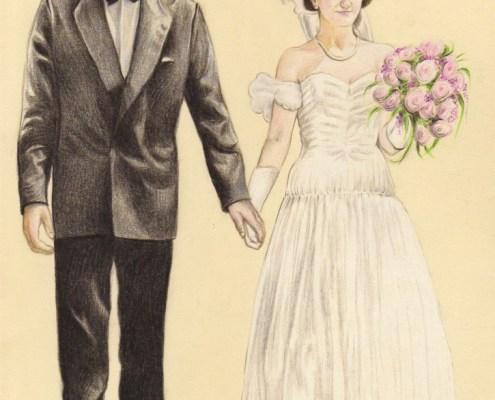 portrait-dessin-d'après-photo-couple-mariés