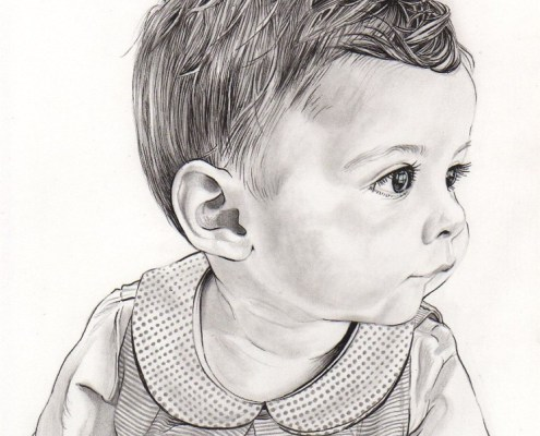 Commandez un portrait dessin de votre enfant ou b b d - Coloriage d une fille ...