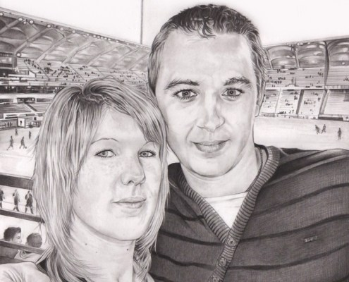 portrait-dessin-d-après-photo-couple-stade
