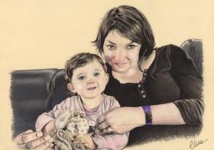 portrait-dessin-d'après-photo-famille-mère-et-fille