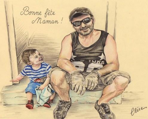 portrait-dessin-d'après-photo-famille-père-et-fils