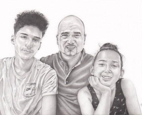portrait-dessin-d-après-photo-famille-père-et-enfants