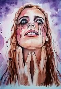 portrait dessin stylisé au féminin Purple rhapsody