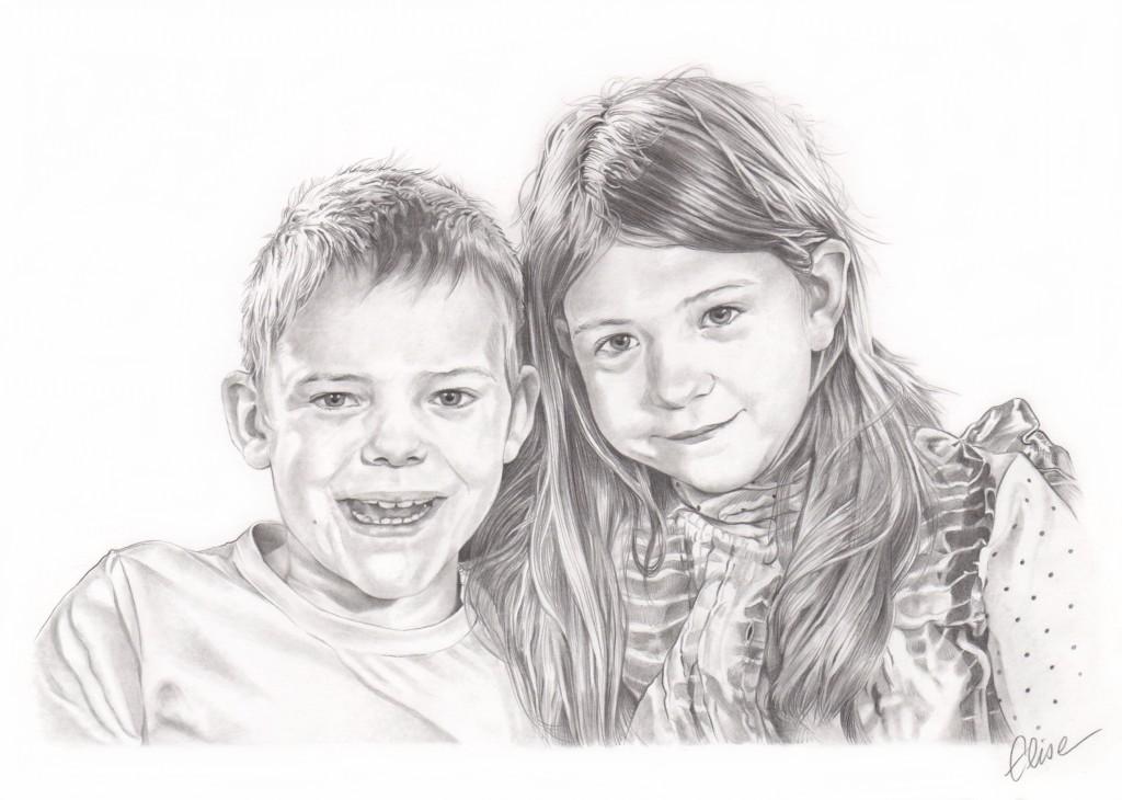 Dessin Frere Et Soeur portrait dessin d'après photo d'enfants frère et sœur en noir et