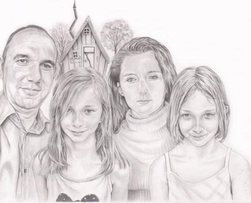 Portrait dessin d'après photo d'une famille devant une cabane en bois