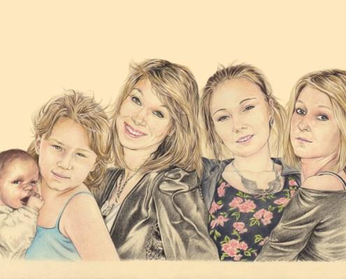 Portrait dessin d'après photo de cinq sœurs